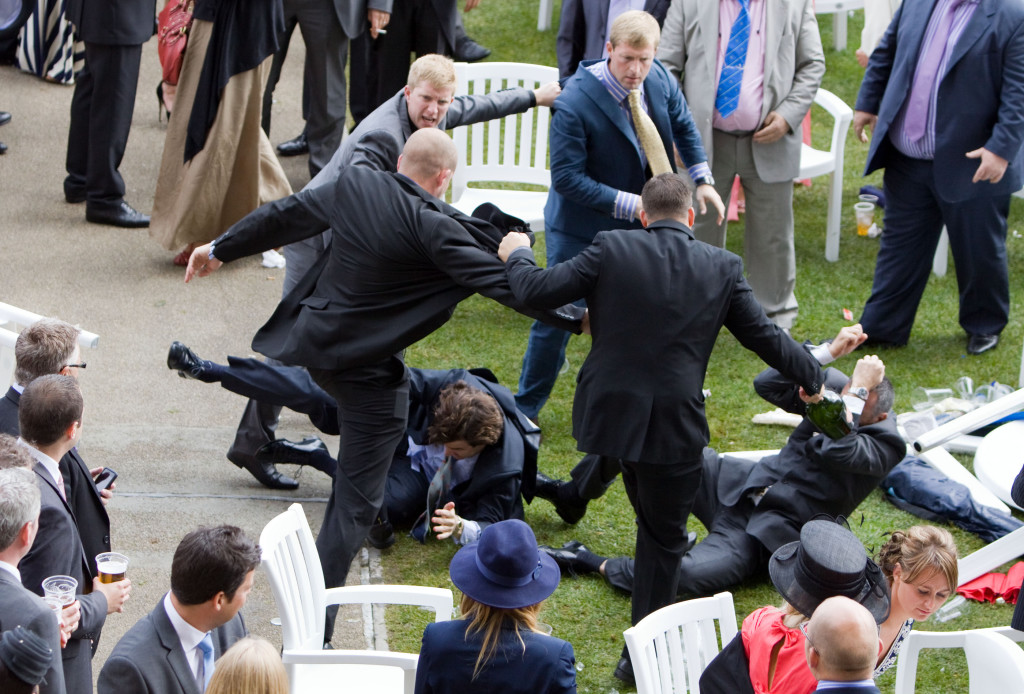 A brawl breaks out between racegoers during Ladies Day at Royal Ascot