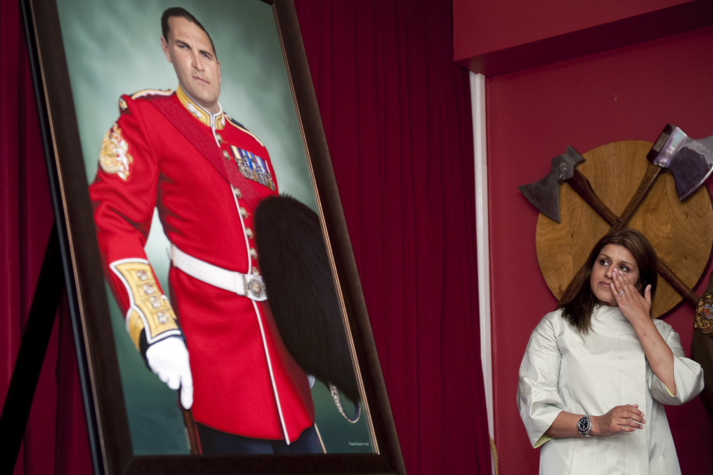 A painting of Warrant Officer First Class Darren Chant of the Grenadier Guards who was shot and killed by a policeman in Afghanistan was unveiled and will hang at the Sergeants' Mess at Lille Barracks, Aldershot.