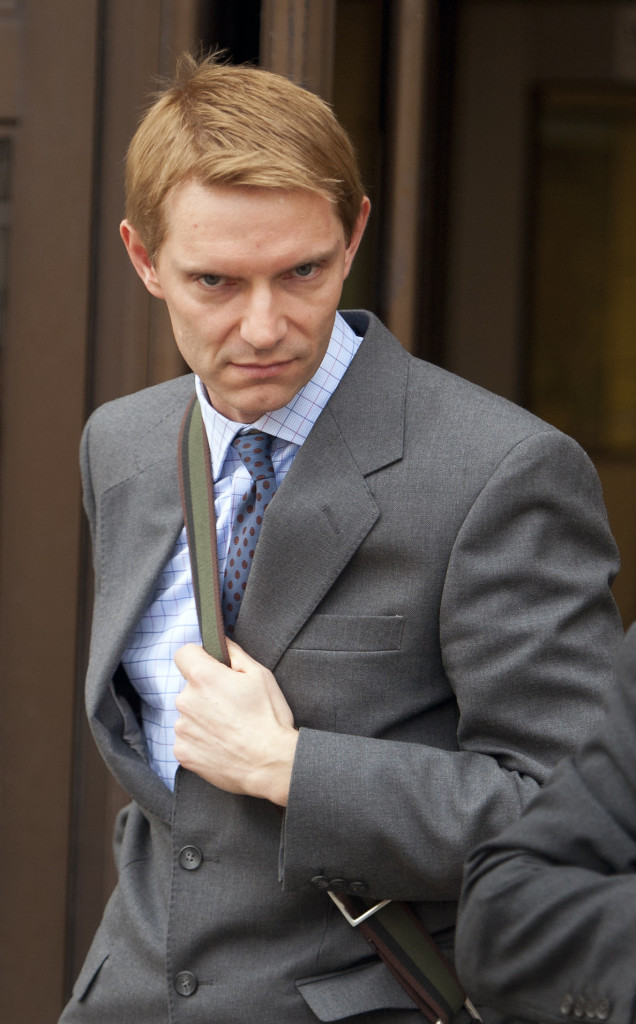 The Honourable James Murray, 41, pictured leaving Oxford Crown Court at the second day of his trial.