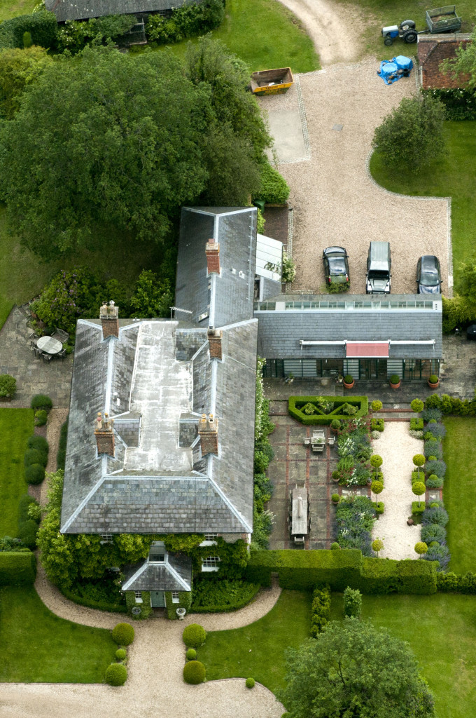 An aerial shot of the Middleton Family's new home in Bucklebury, Berkshire
