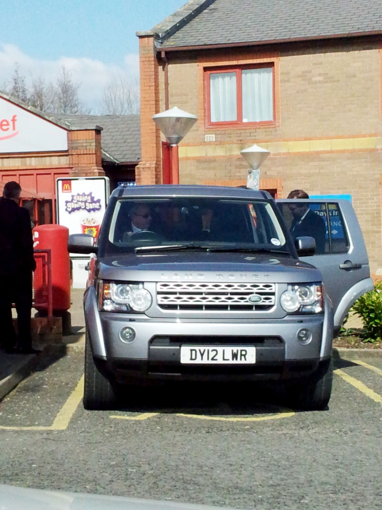 Pictured Chancellor of Exchequer George Osborne parked in a disabled bay in a service station near New Port, Wales.