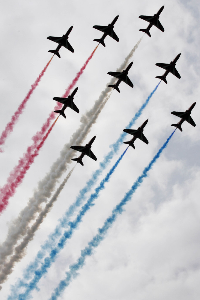 The Red Arrows in a diamond formation over Windsor