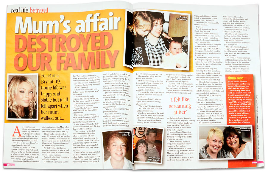 Mum's affair destroyed our family - Portia Bryant, Bella