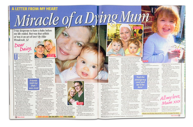 Picture shows a copy of the published article in Take a Break magazine.
