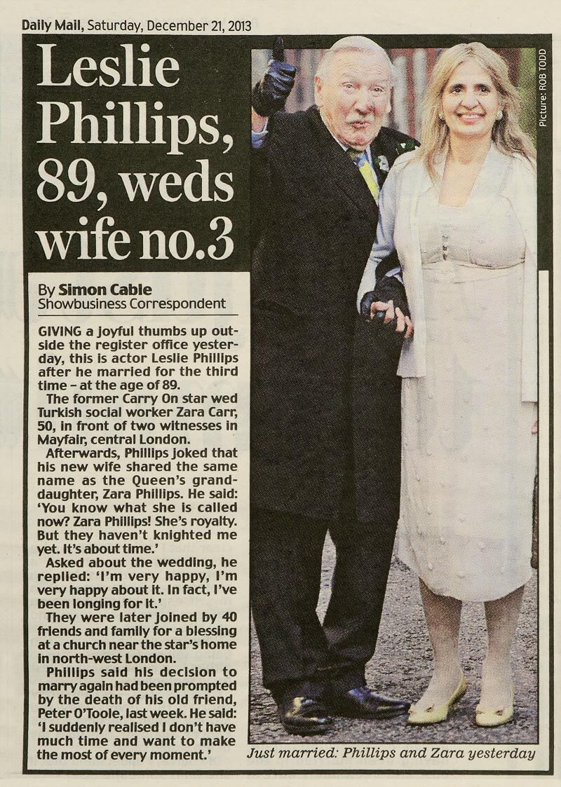 Leslie Phillips in the Daily Mail
